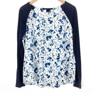 French Connection Blue Floral Contrast Sleeve Top